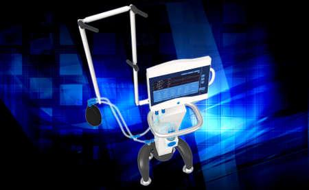 medical ventilator: digital illustration of medical hospital ventilator respiratory unit system in digital background Stock Photo