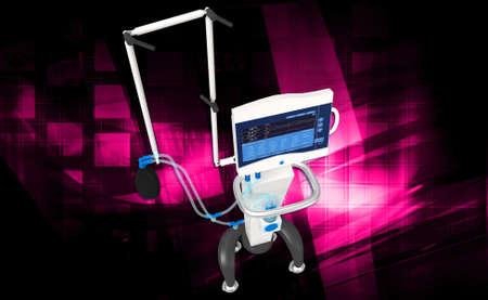 medical ventilator: digital illustration of medical hospital ventilator respiratory unit system in digital