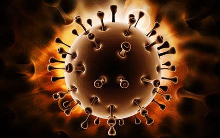 sars: Digital illustration of sars virus in colour