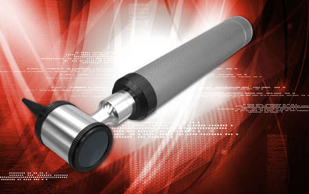 opthalmascope: Digital illustration of otoscope in white