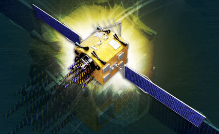digital illustration of a satelite in digital background illustration