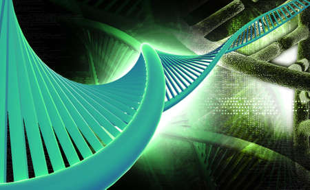 Digital illustration of a dna in digital background  is a molecule that encodes the genetic instructions used in the development and functioning of all known living organisms and many viruses  Banco de Imagens