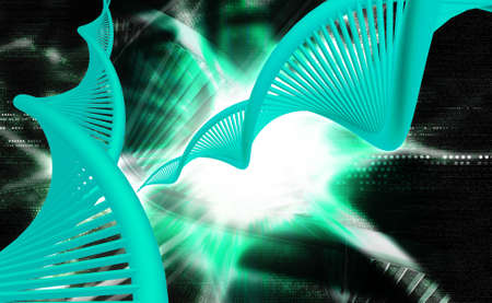 Digital illustration of a dna in digital background  is a molecule that encodes the genetic instructions used in the development and functioning of all known living organisms and many viruses Banco de Imagens - 25512866