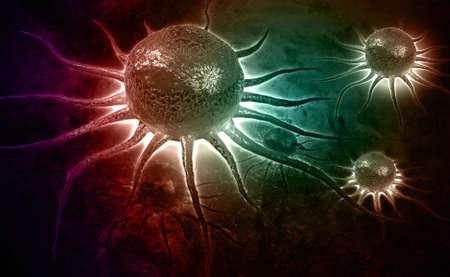 manipulation: Digital illustration of stem cell in color background Stock Photo