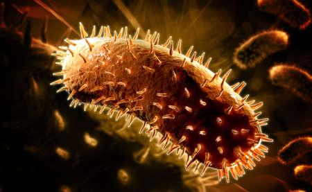 hydrophobia: Illustrazione digitale del virus della rabbia in colore
