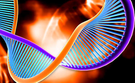 clone: Digital illustration of a dna in red background