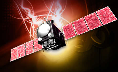 microwave antenna: digital illustration of a satelite in digital background