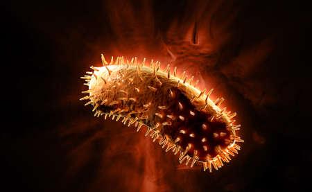Digital illustration of rabies virus in colour background