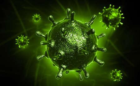 sars: Digital illustration of sars virus in coloured background