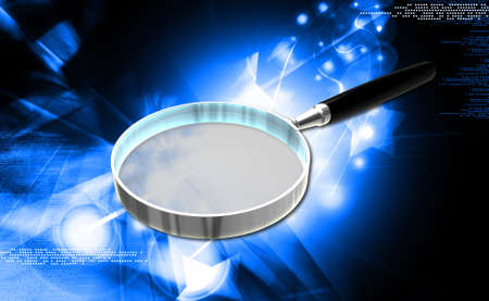 low scale magnification: Digital illustration of Magnifying glass in coloured background