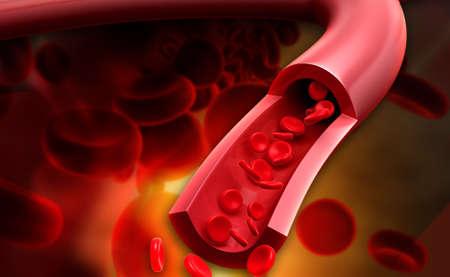 혈액 세포를 스트리밍의 디지털 그림 hematocyte라고도하는 혈액 세포는 조혈에 의해 생산되고 일반적으로 혈액에서 발견되는 세포입니다 스톡 콘텐츠