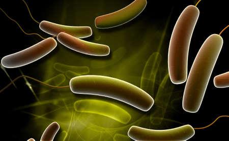 Digital illustration of Coli bacteria in colour background