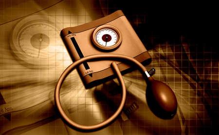 Digital illustration of sphygmomanometer in colour background Stock Photo