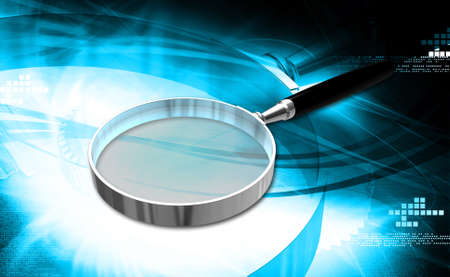 low scale magnification: Digital illustration of Magnifying glass in colour background Stock Photo