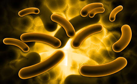 e coli: Digital illustration of E coli Bacteria in color background