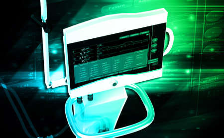 anesthesia: digital illustration of medical hospital ventilator respiratory unit system in digital background Stock Photo