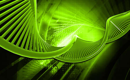 raytrace: Digital illustration of a dna in colour background Stock Photo