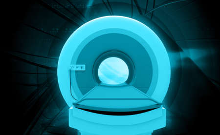 x ray machine: Digital illustration of CT Scan Machine in coloured background