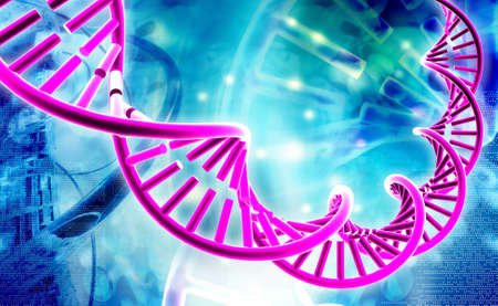 raytrace: Digital illustration of a dna in white background