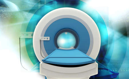 x ray equipment: Digital illustration of CT Scan Machine in coloured background
