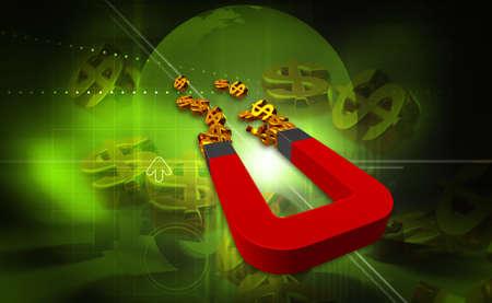 Digital illustration of dollar and magnet in colour background illustration