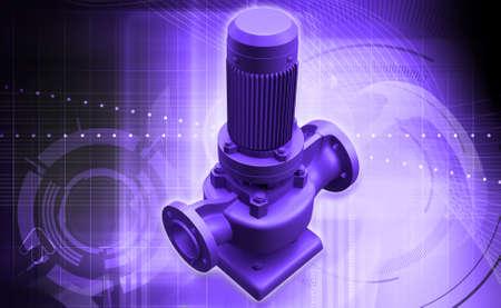sewage system: digital illustration of awater pump in digital background