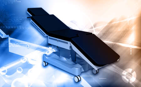 spetial: Digital illustration of medical bed in colour background