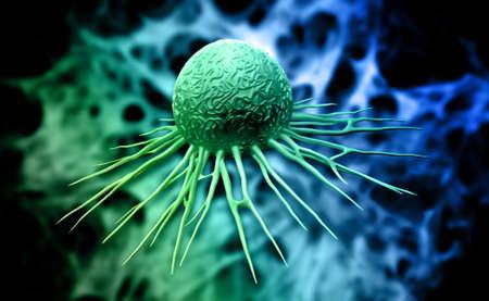 Digital illustration of cancer cell in colour background illustration