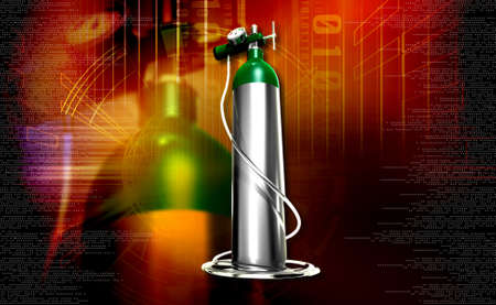 compressed gas: digital illustration of a oxygen cylinder in colour background