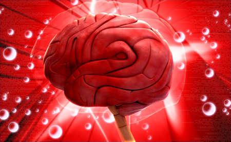 Digital illustration of brain on colored background illustration