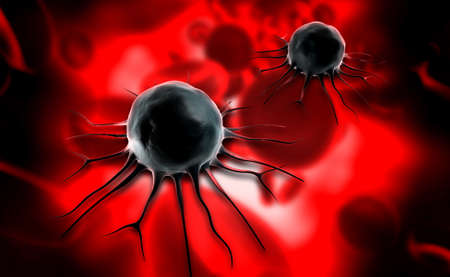 migrating cell: Digital illustration of cancer cell in colour background