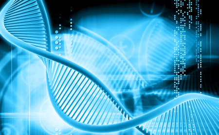 raytrace: Digital illustration of a dna in color background