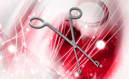 medical scissor tool in digital background