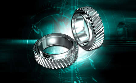 digital illustration of two gears on digital background