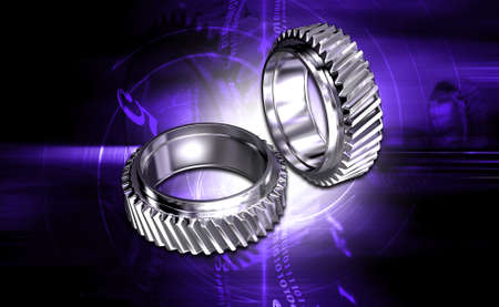 digital illustration of gear on digital background