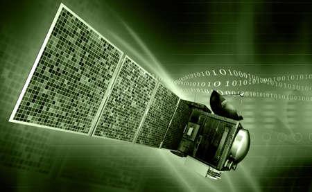 digital illustration of satellite in colour background illustration