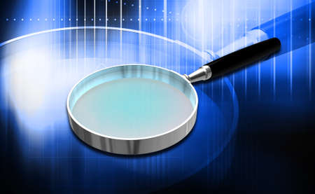 Digital illustration of Magnifying glass in colour background Reklamní fotografie