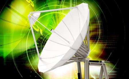 digital illustration of satellite dish in colour background illustration