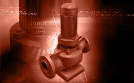 sewage treatment plant: digital illustration of awater pump in digital background