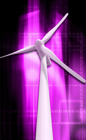 digital illustration of a windmill generator power plant in digital background