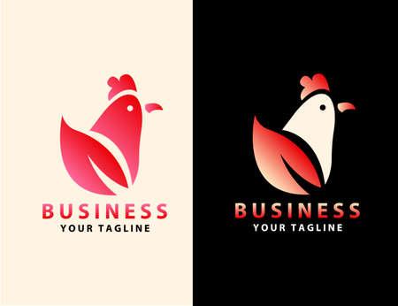 Rooster Creative leaf Concept Design Template. graphics illustration design of rooster leaf.