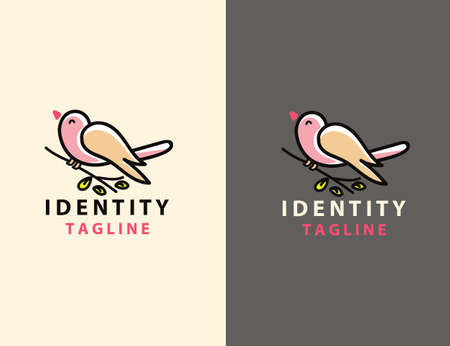 Bird Logo Abstract Lineart Outline Design Vector Template. Line art cute bird design vector graphics illustration