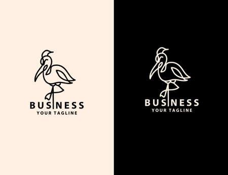 stork logo line art monoline outline vector illustration graphics design..stork bird illustration logo