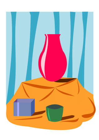 Vector Still Life, still life art digitally defined with vibrant color schemes. The vector is made especially for learning purpose. It is an abstract idea for defining the art of still life.