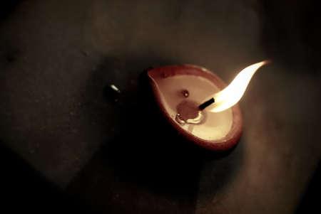 Single lighted wax lamp (diya) Stock Photo - 4507685