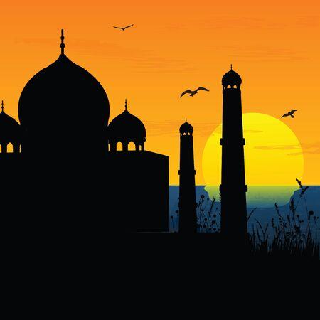 agra: silhouette view of Taj Mahal, agra, India, sunrise,sunset  Stock Photo