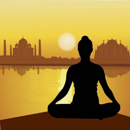 taj: human doing yoga with taj mahal background, lake side  Stock Photo