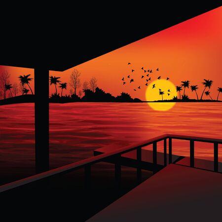 boathouse: landscape - sunrise view from boathouse, lake side
