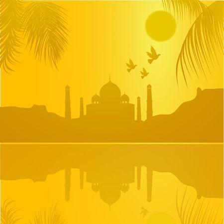 agra: silhouette view of Taj Mahal, agra, India, lake view