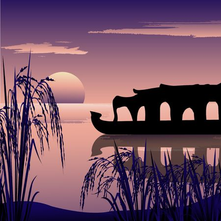 backwaters: silhouette of a boathouse,backwaters and sunrise background